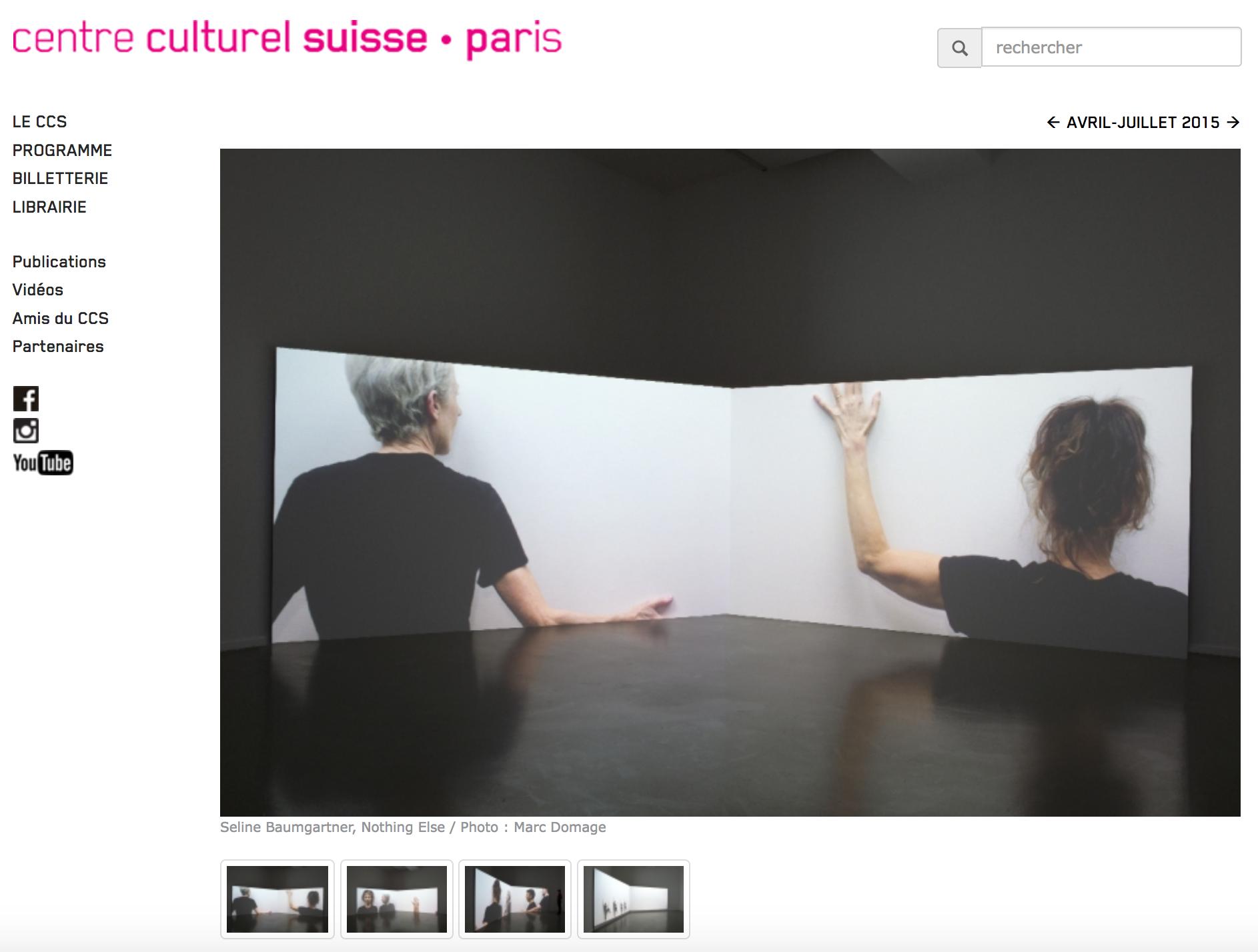 SOLO EXHIBITION at  Centre culturel suisse • Paris