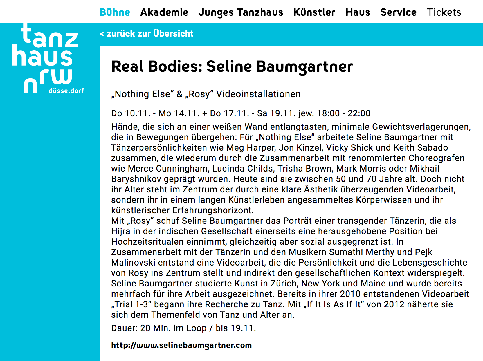"2016 ""Nothing Else"", Tanzhaus NRW, Dusseldorf, Seline Baumgartner"