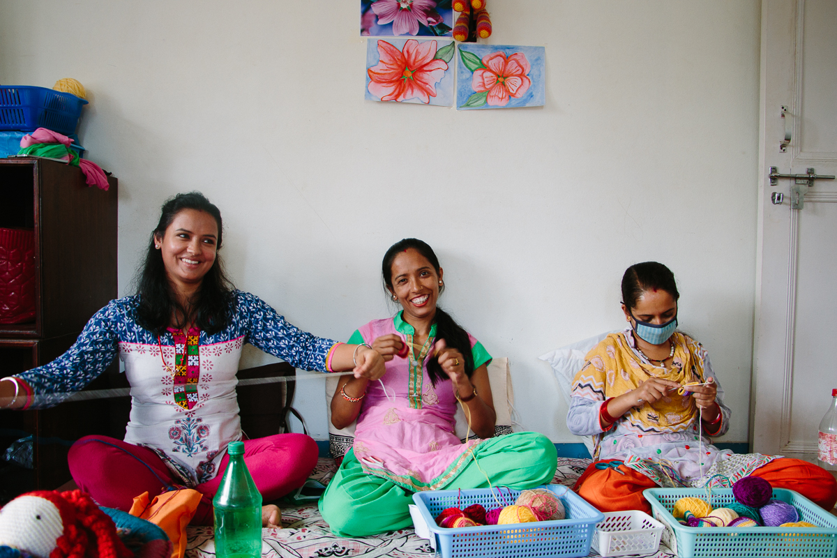 We also visited the women artisans in Pokhara, of the Kriayt Social Business. Anne has taught the women artisans to make contemporary, new crochet doll designs!