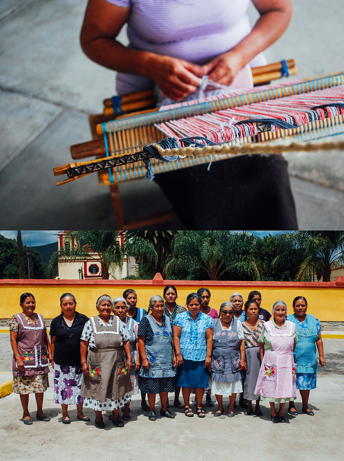 Women Weavers of Oaxaca - This incredible group of women ranges from ages 28 to 94!Like a family, each woman works alongside one another, weaving on the group's traditional backstrap looms.Most have learnt their craft from the other women in their families, purchasing the cotton from the nearby Puebla and dying it themselves before starting the weaving process together.Each cotton clutch piece takes approximately 4 hours to weave, with each artisan sharing a bit of their legacy in every bag.