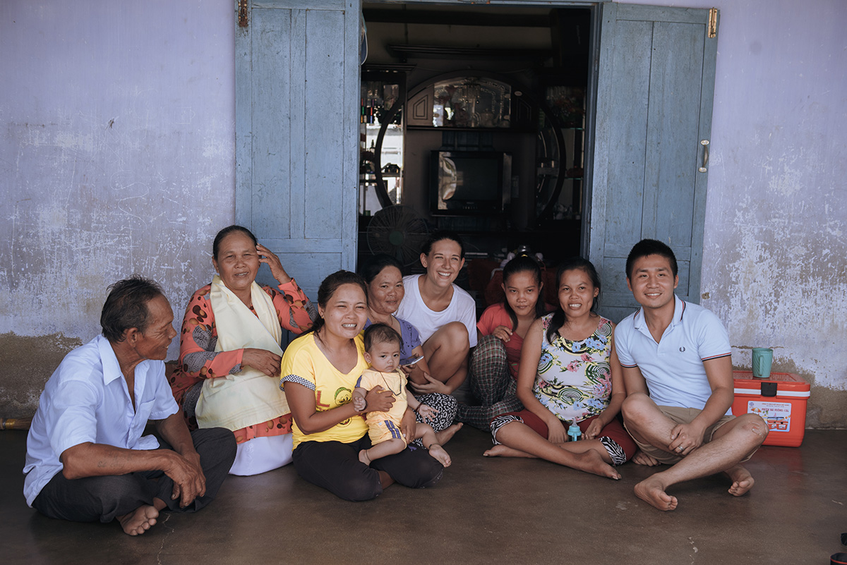 Laura and I with an artisan family in rural Vietnam.  Photography by Ody.