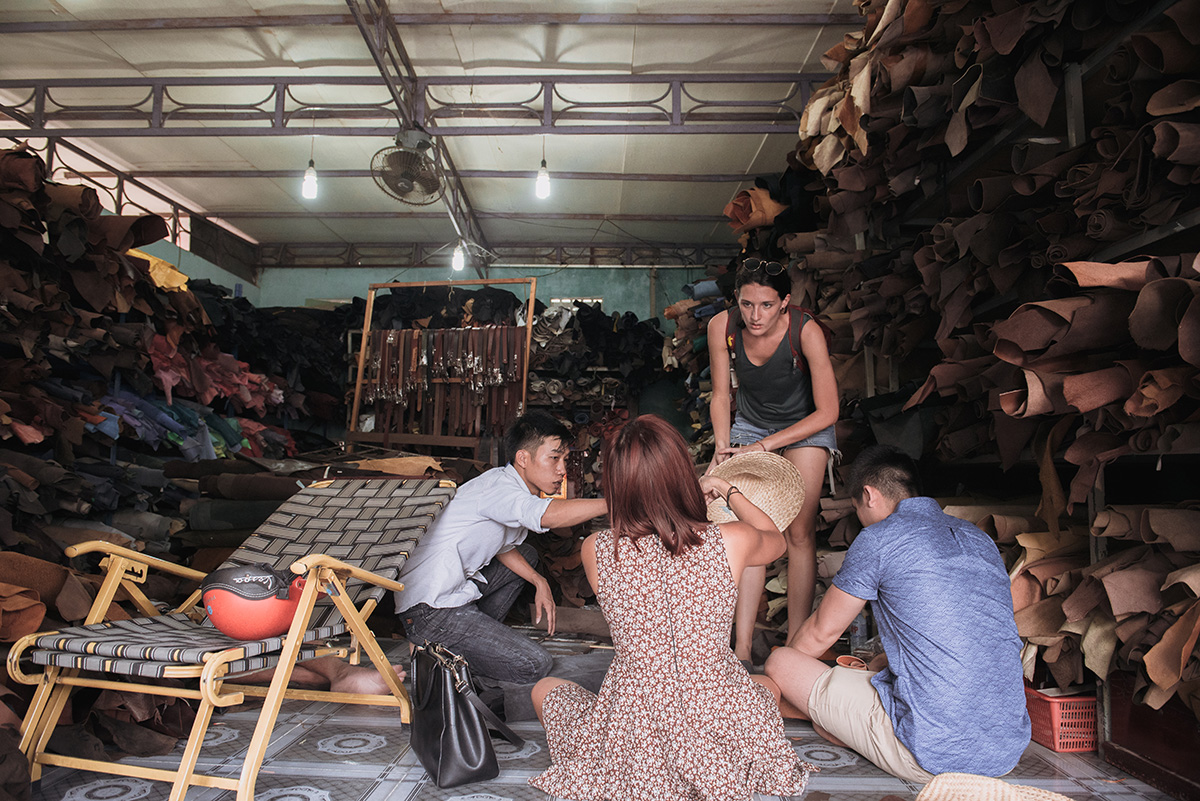 Sourcing leather scraps from a local workshop with Bella (Ha) and Laura. Photography by Ody.