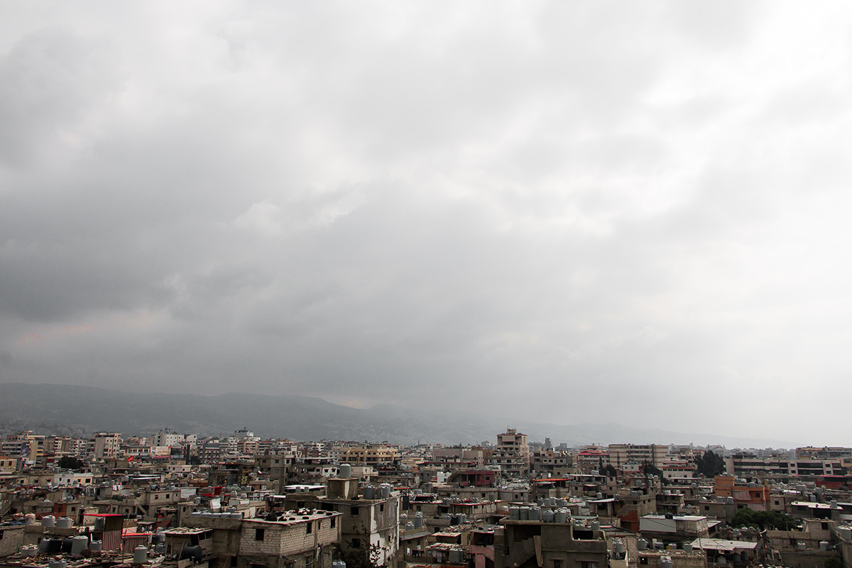 The Chatila skyline, taken off a rooftop of one of the concrete buildings. The homes are mostly precariously built without any foundations. Photography by yours truly.