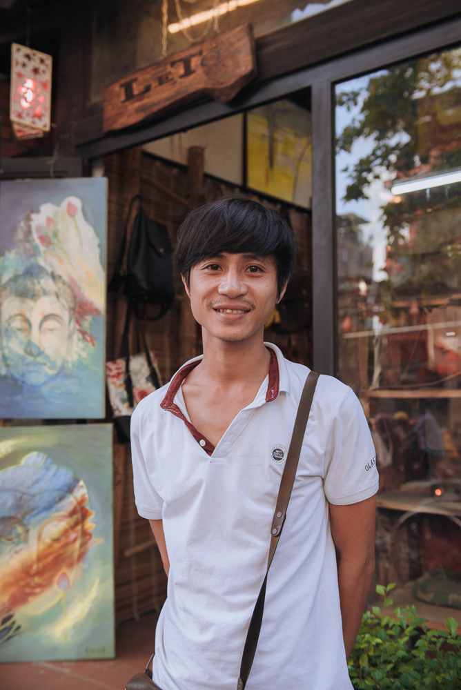Leather Artisan:Binh - Binh is a contemporary artisan from the region of Hue, Vietnam. He moved into leather-making after 8 years of study in the arts.His designs fuses a sense of Vietnamese simplicity with contemporary lines and shapes.