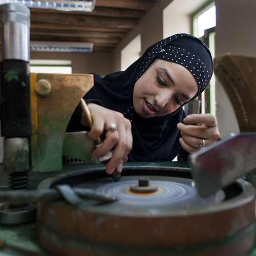 Artisan: Nazila - Nazila is a talented jeweller and enterprising young artisan. She learnt to cut, polish, and shape jewellery with the Turquoise Mountain Institute in Kabul.