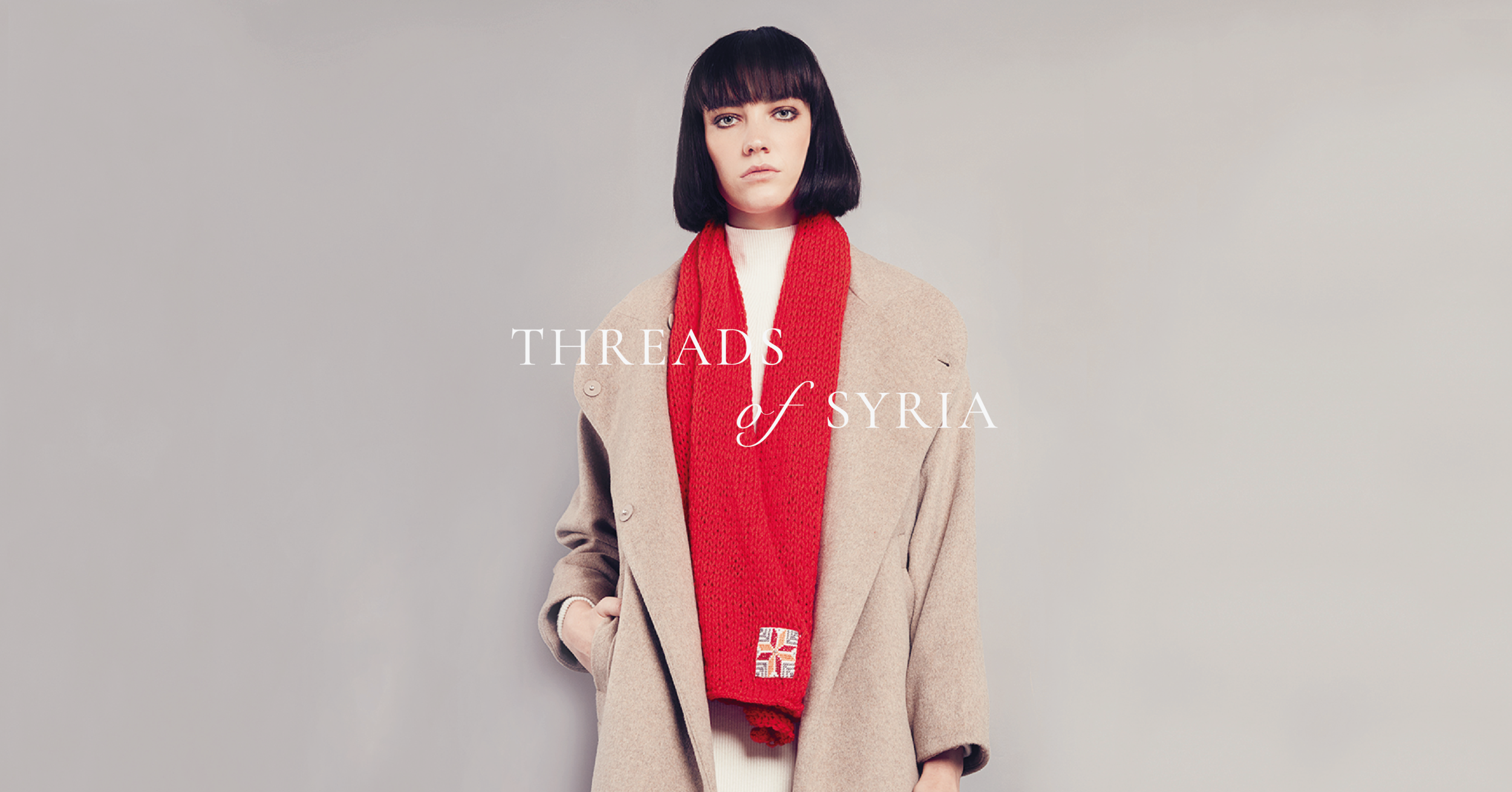 The  Threads Of Syria scarf: knitted wool-blend scarves with a touch of Syrian embroidery. Photography by Artisan & Fox.
