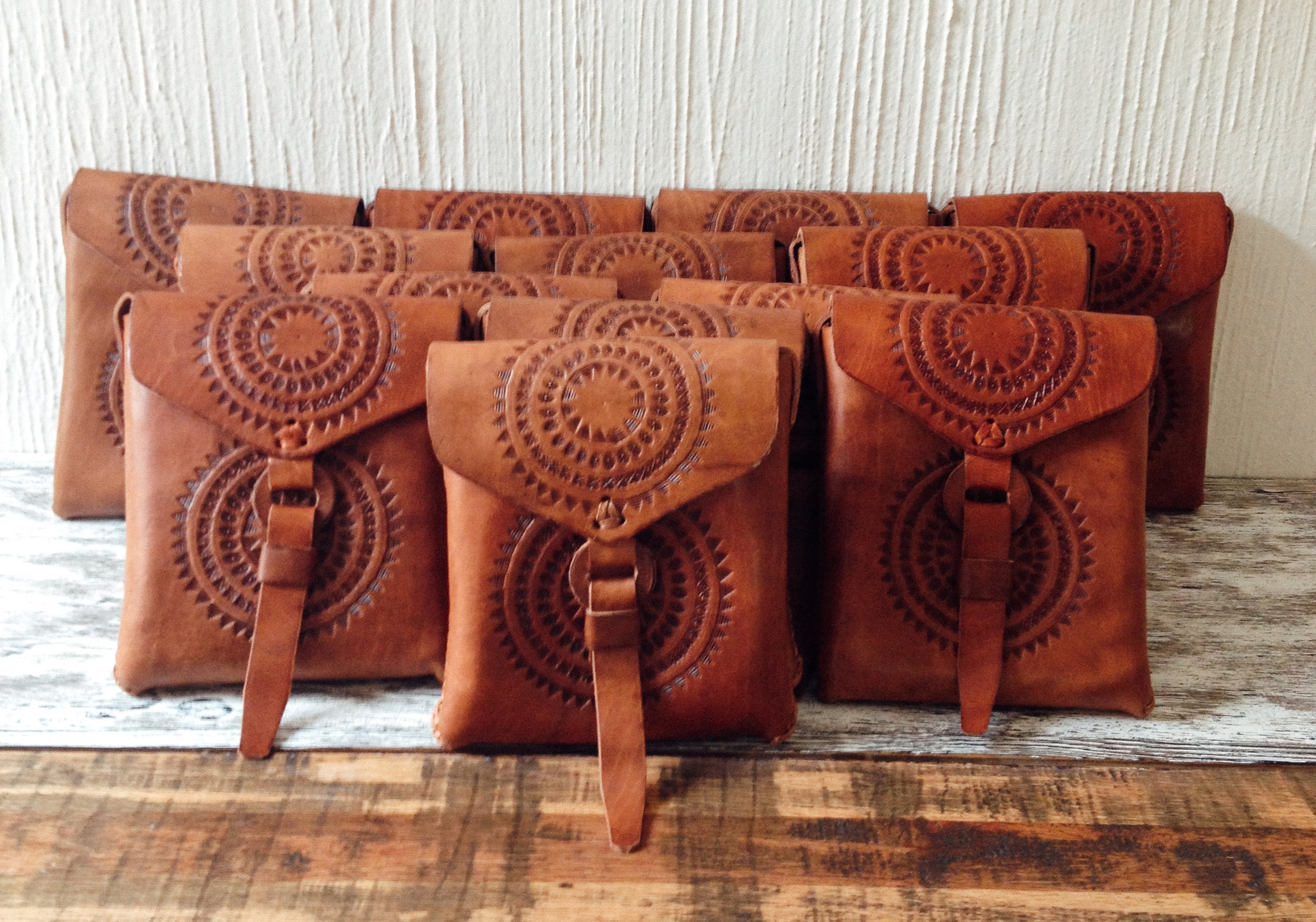 Hand-tooled sun-print leather bags from Mexico. The  SOL Crossbody .