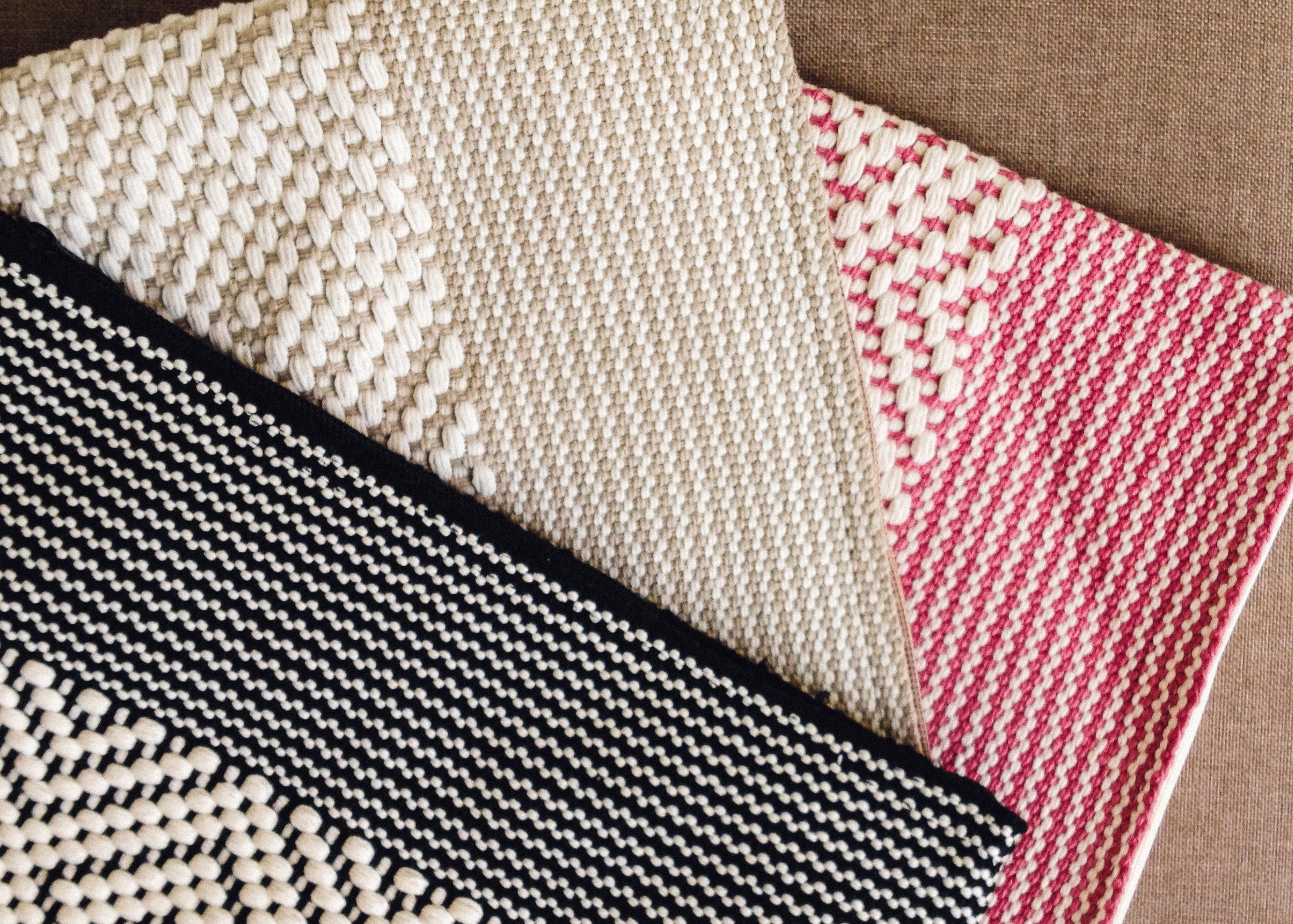The  OROS Loomed Clutches . Handwoven from organic cotton threads by artisans in Mexico.