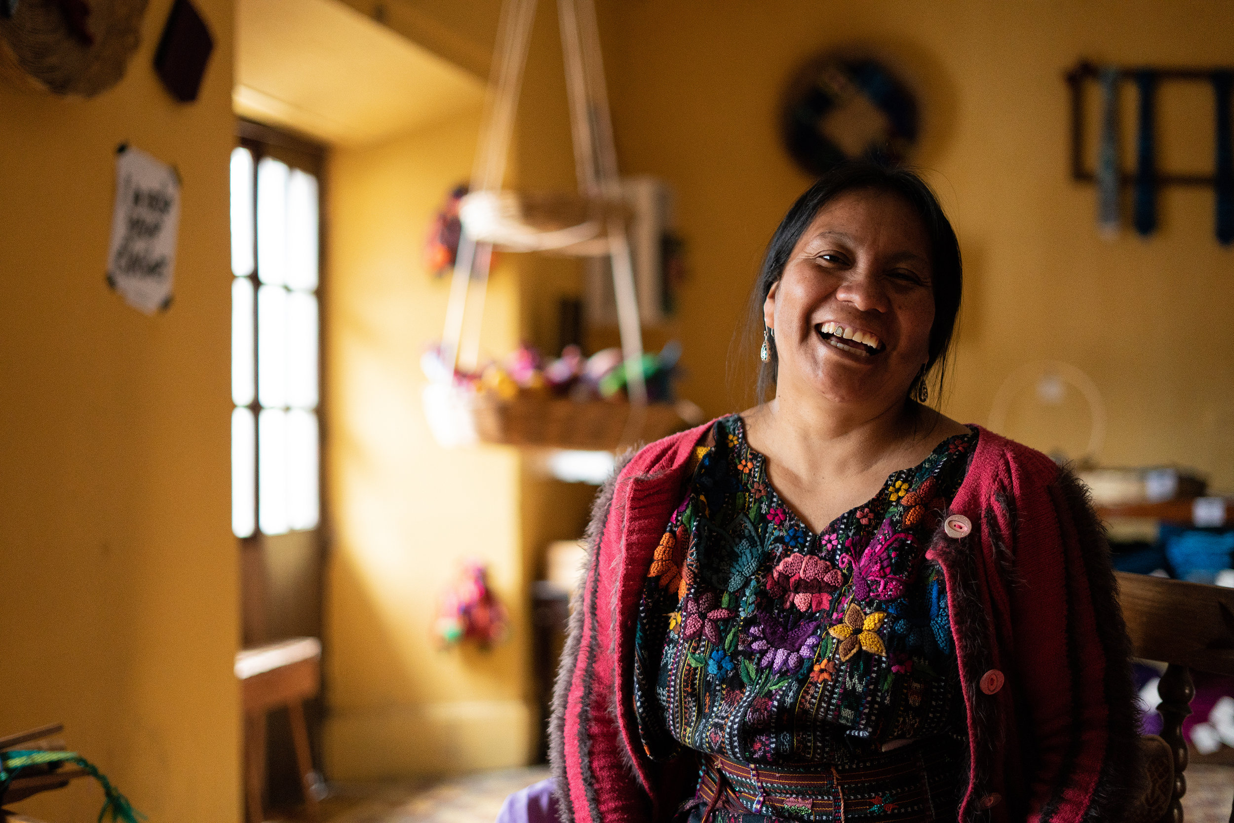 Lead Weaver: Oralia - Working alongside fellow Mayan women as part of a local artisan association in Solola, Guatemala, Oralia had learnt the art of looming from her own grandmother.Oralia shared with us that she works from her home, and always begins her weave with a prayer. As she takes care of her children during the day, Oralia often weaves throughout the night.She hopes to one day send her children to college.Oralia loves weaving because she believes that this is the mission her ancestors have given her. It is a cultural heritage, an art and they have to fight to preserve it.Her incredible weaving techniques and teachings had helped produced some of the intricate SOLOLA Shawls featured on our marketplace.