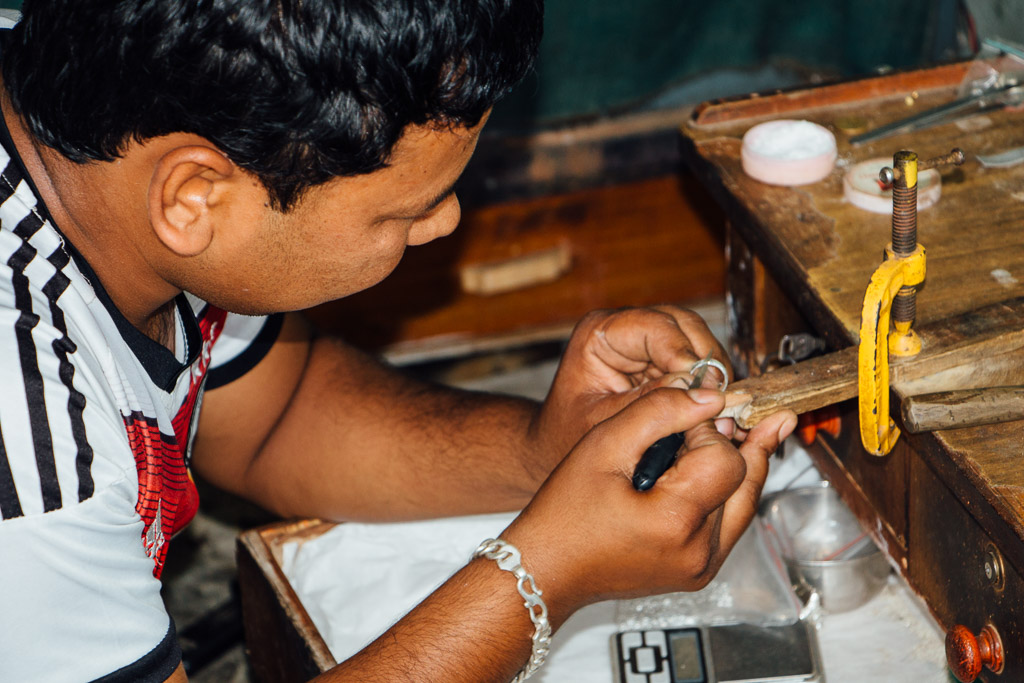 Here is Prem pictured, making one of his first silver rings for Artisan & Fox.