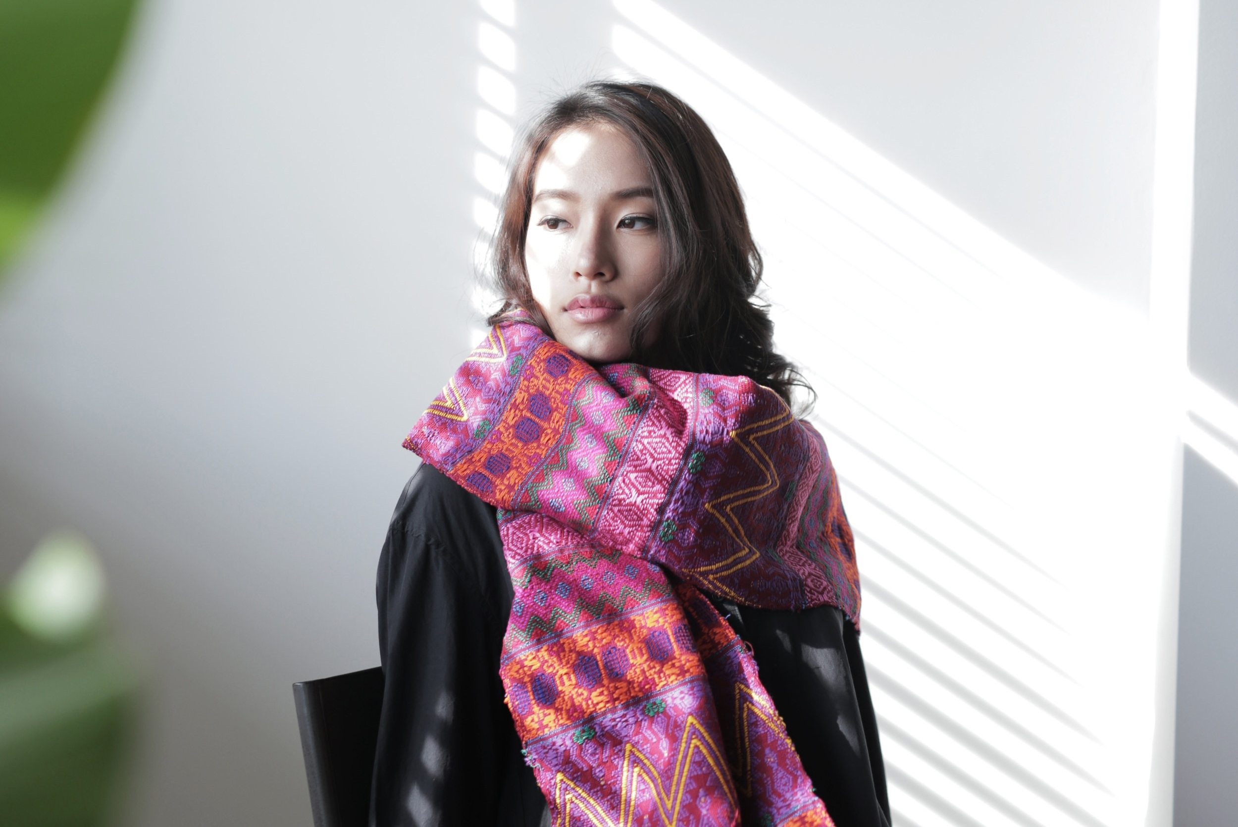 The S OLOLA Shawl in vibrant tapestry , made in Guatemala with native Mayan weavers.