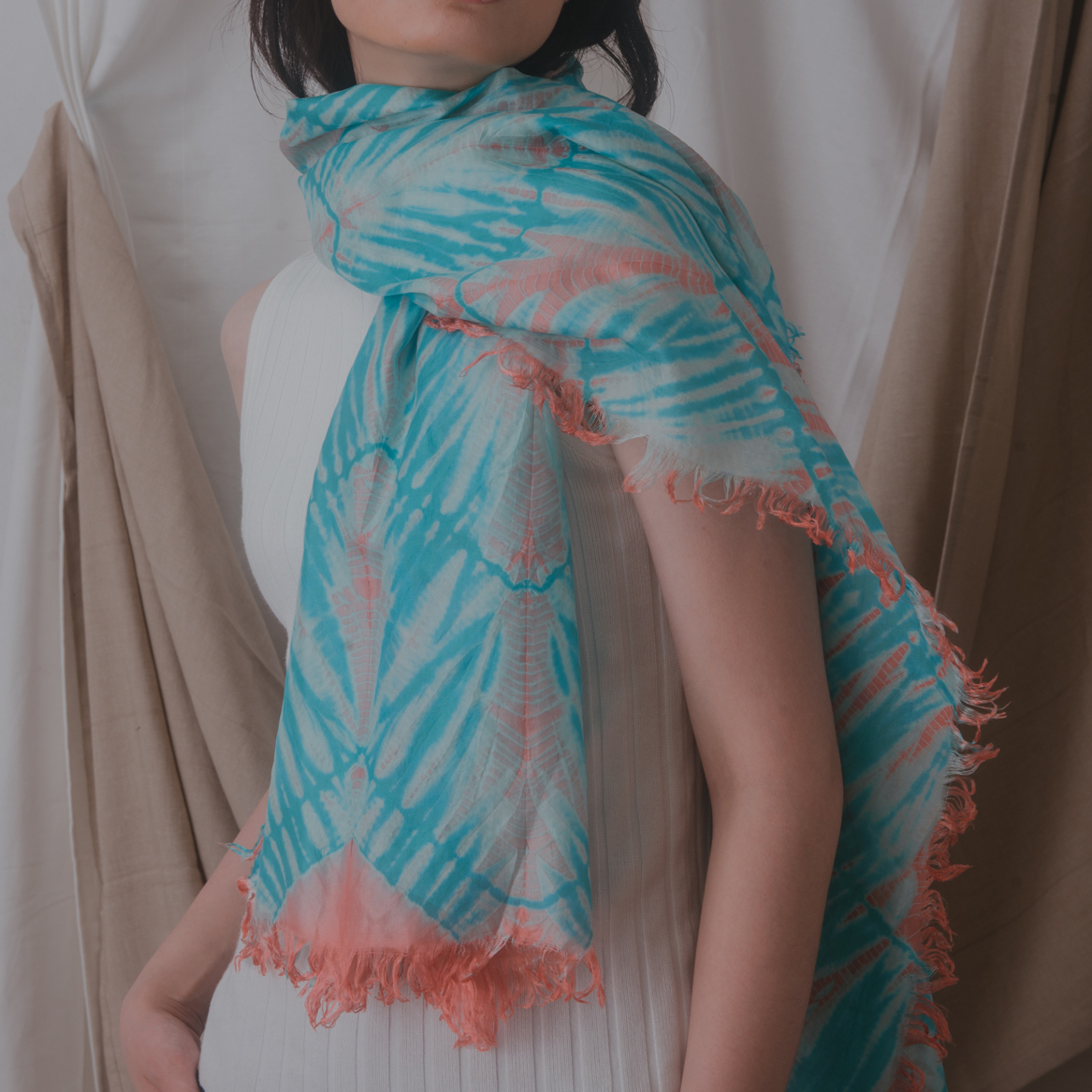 The Living Coral Scarf , made in Cambodia.