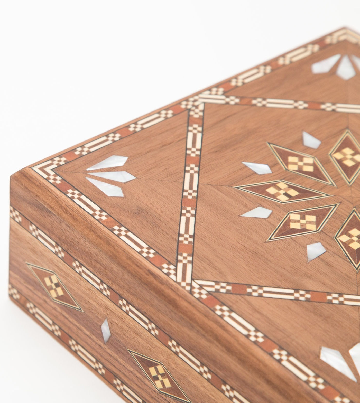 The  Square Damascene Box  with geometric mosaic inlay.