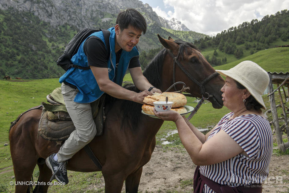 Ashurov and his team relied on horse back to reach remote areas. Photo by UNHCR.