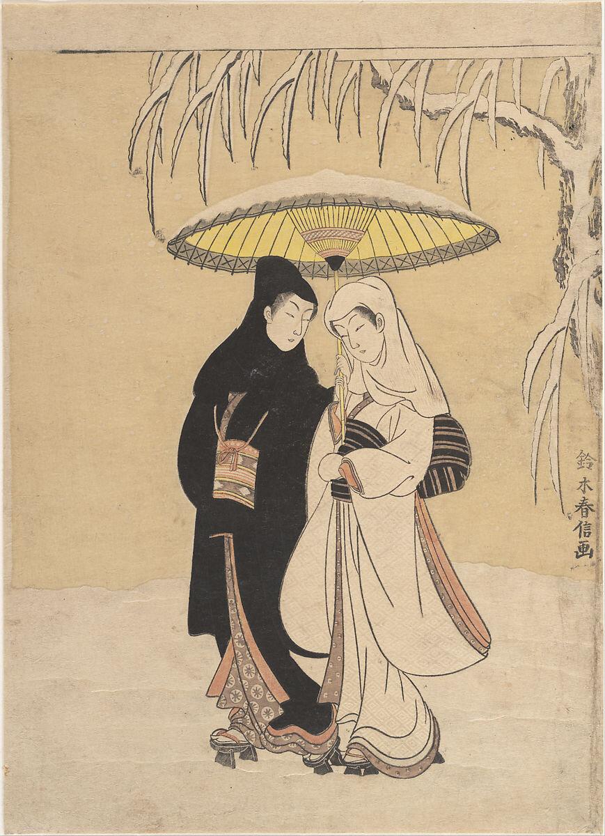 'Lovers Walking in the Snow' by Suzuki Harunobu. Image: Met Museum.