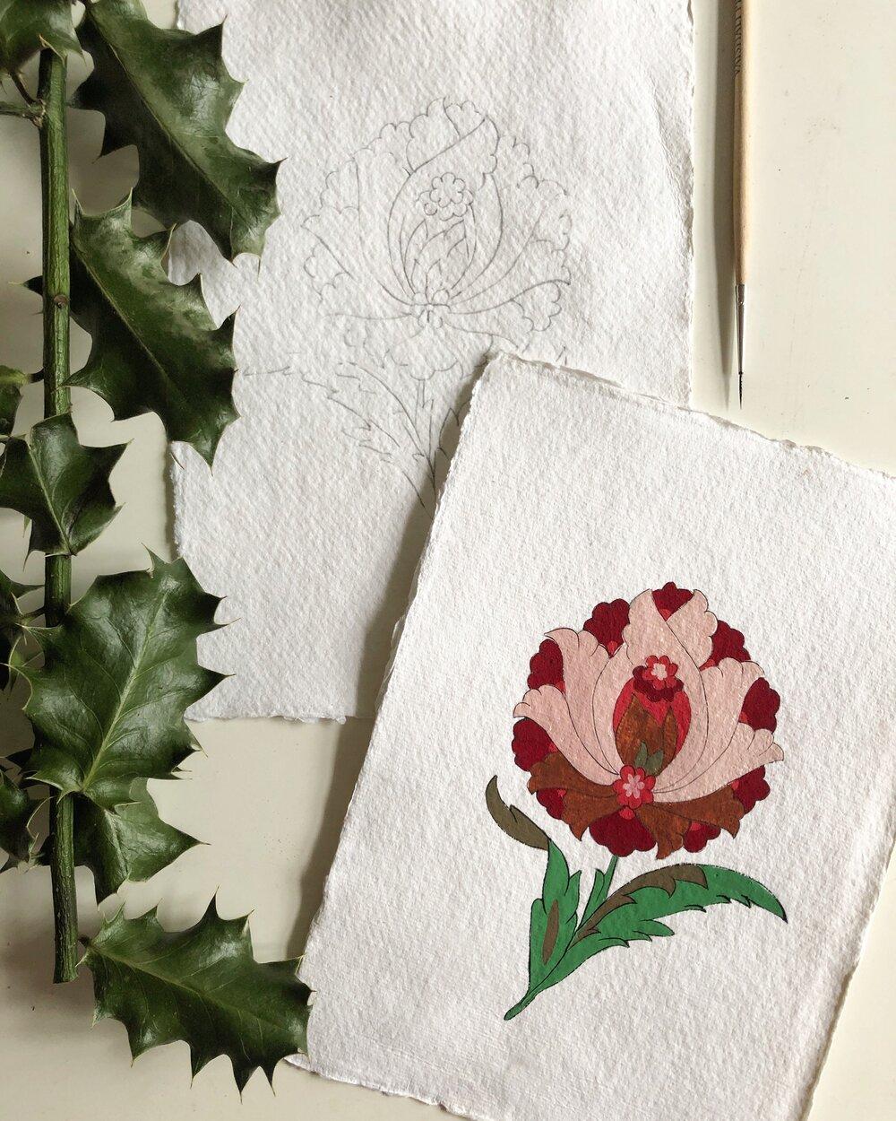 A painting in progress from Esra's Turkish Flower Painting Workshop. Photo: @i slamicillumination