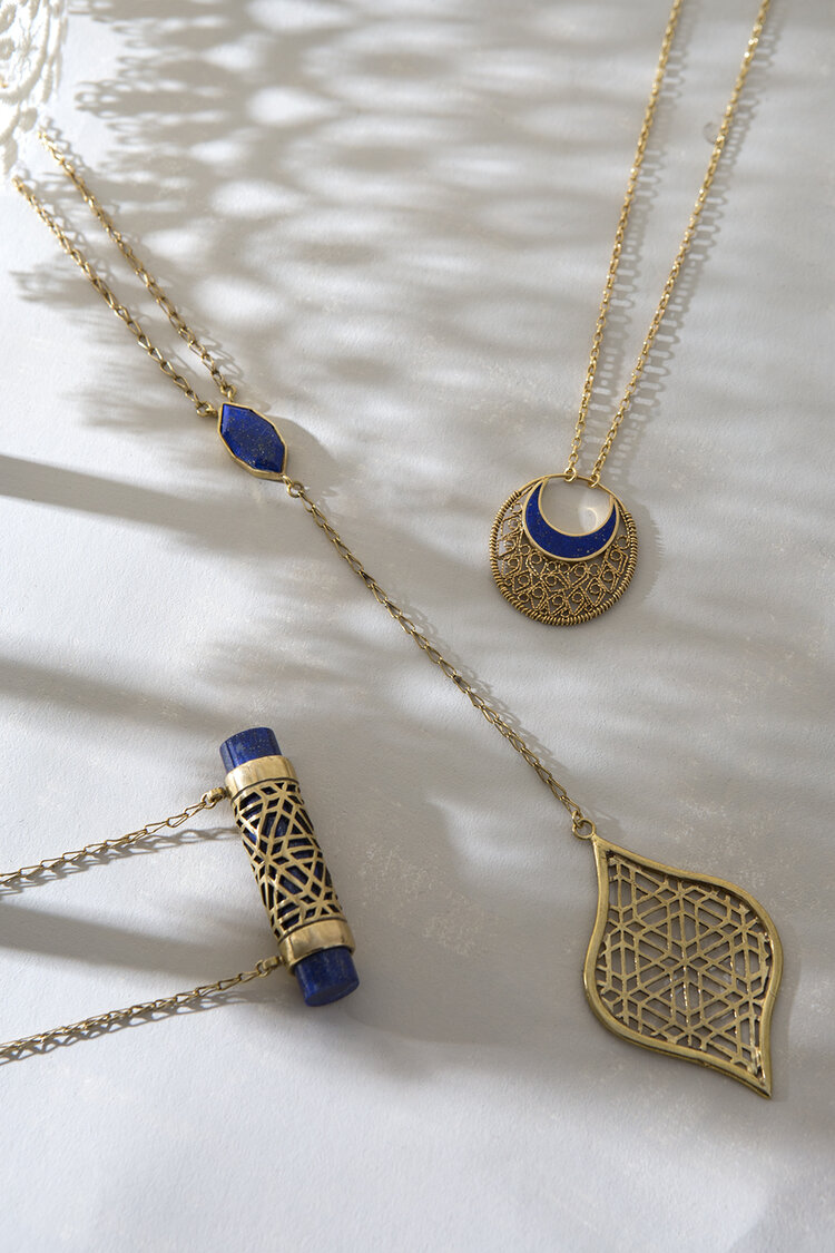 Left to right:  LAILA Pendant Necklace ,  LAILA Drop Necklace,  &  MONIRA Filigree Pendant Necklace.