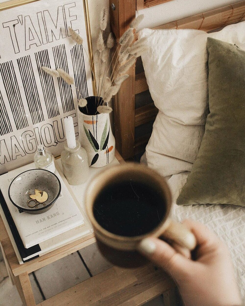 Beginning the day with coffee. Photo by Polly Florence.