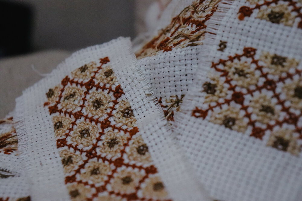 Traditional Syrian cross-stitch embroidery.