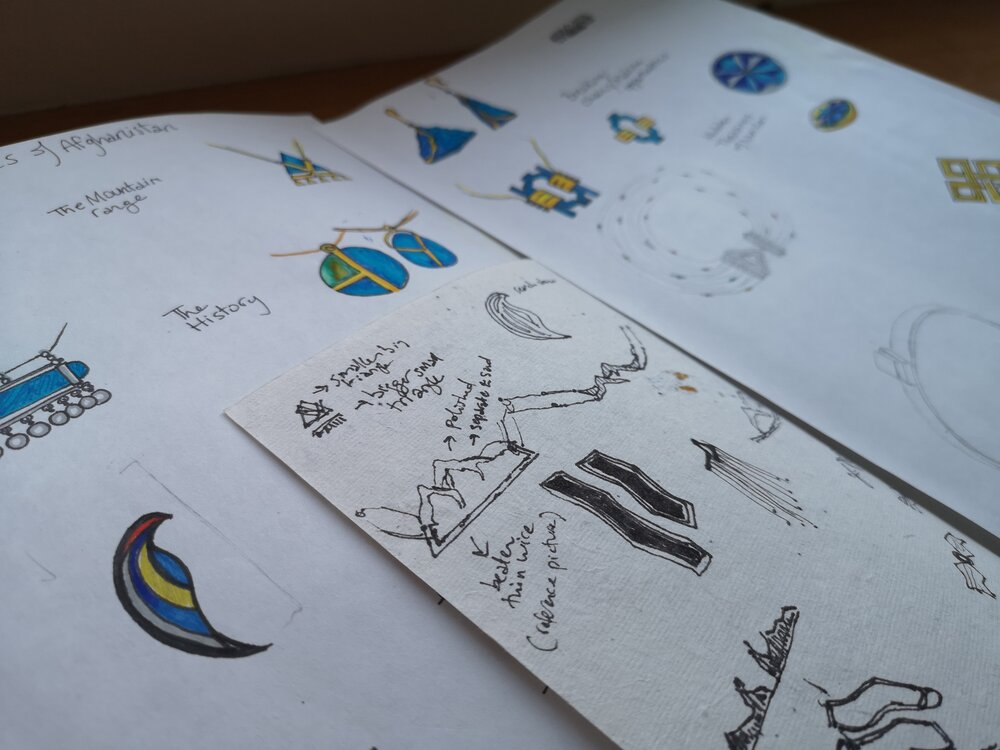 The design process: Lama's sketches and iterations of the collection.