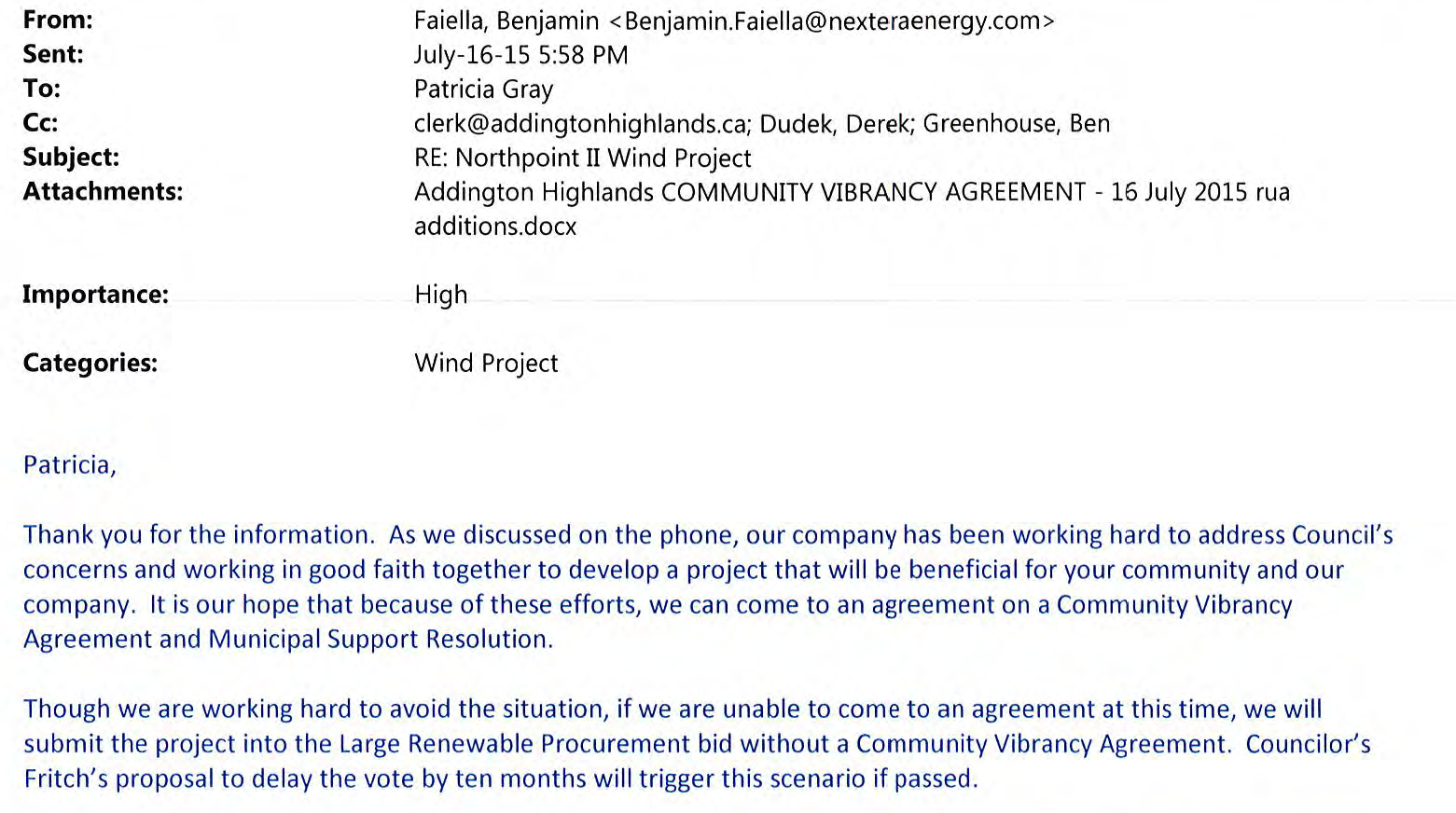July 16, 2015 email from Benjamin Faiella of Nextera to Patricia Gray of Addington Highlands: