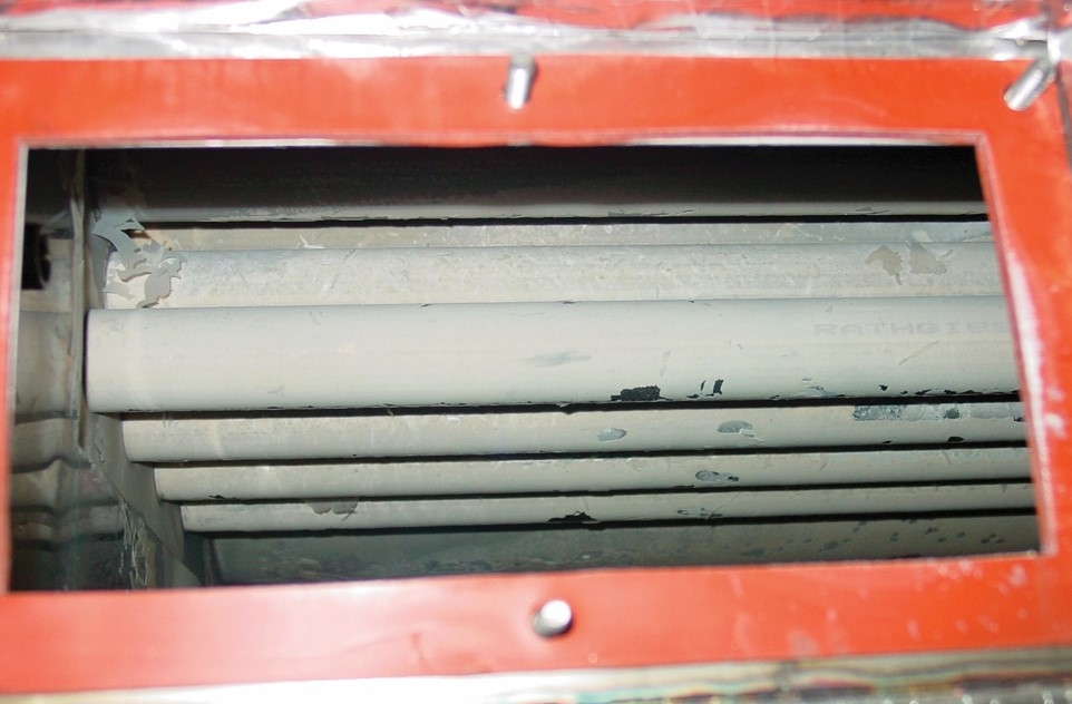 Excessive scale build-up on heat transfer surface in steam humidification application.