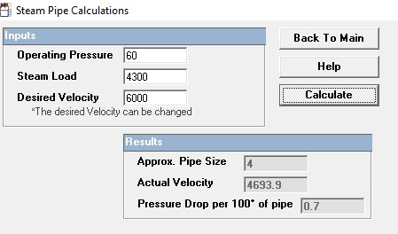 STEAM PIPE SIZE SELECTION USING HOFFMAN SELECTION TOOL.