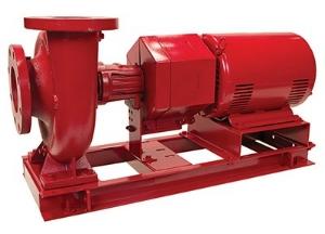 Floor mounted long coupled base-mound pump.
