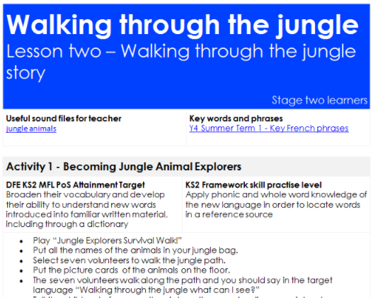Lesson plans - 3 activities per lesson , language support and click through activities