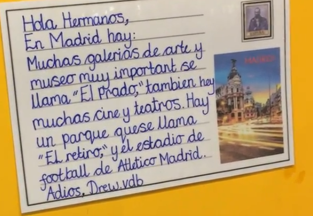 …….to writing postcards to describe famous Spanish cities they have explored: