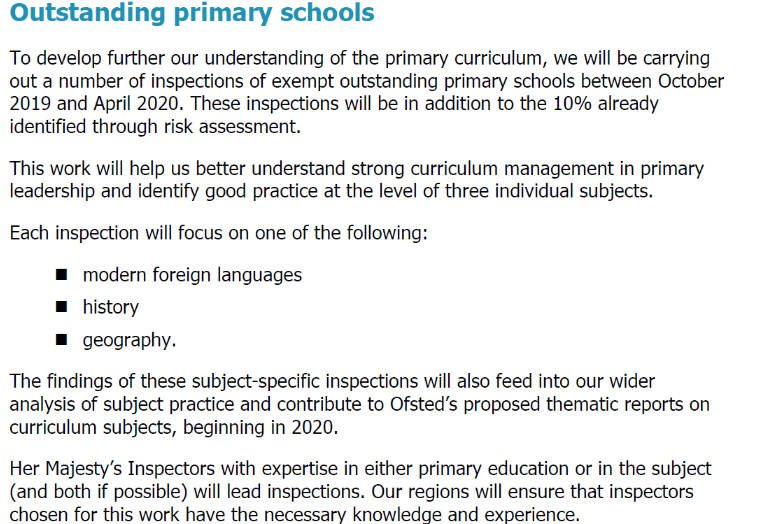Extract from recent Ofsted announcement