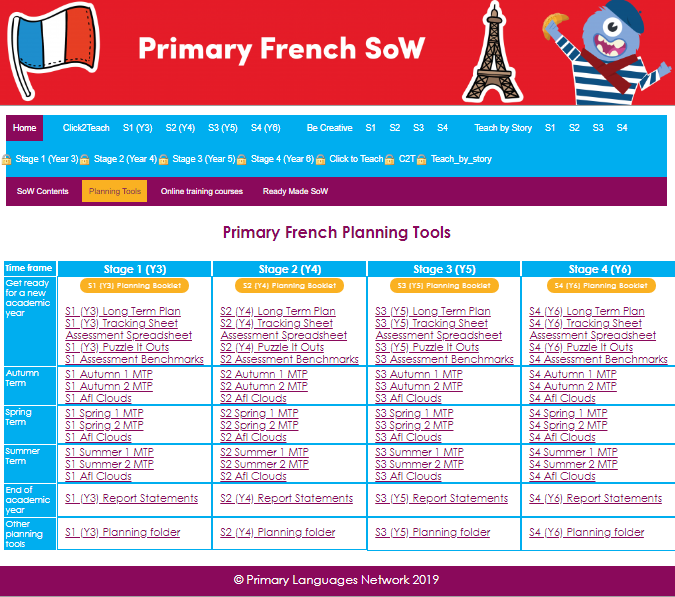 Extract from the Planning chart from our Primary Languages SoW