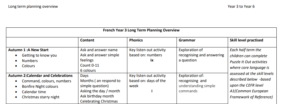 Extract from the Long term plan from our Primary Languages SoW