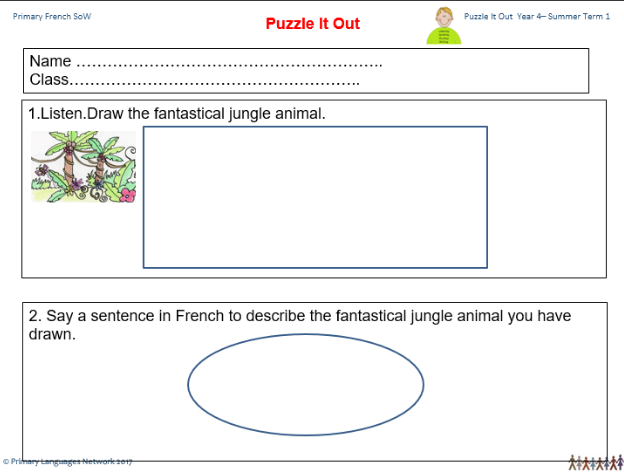 Extract from our Puzzle it out assessment in our Primary Languages SoW