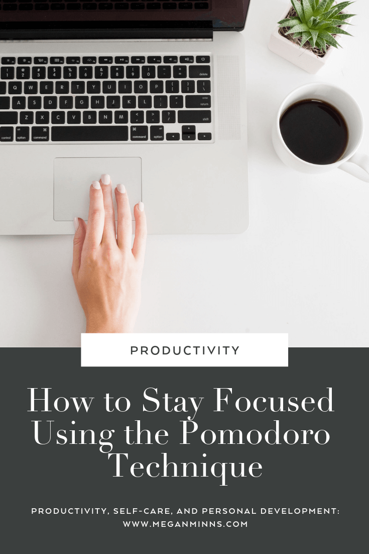 Learn how to stop procrastinating and stay focused by using the Pomodoro Technique. Learn more: https://meganminns.com/blog/pomodoro-technique-explained