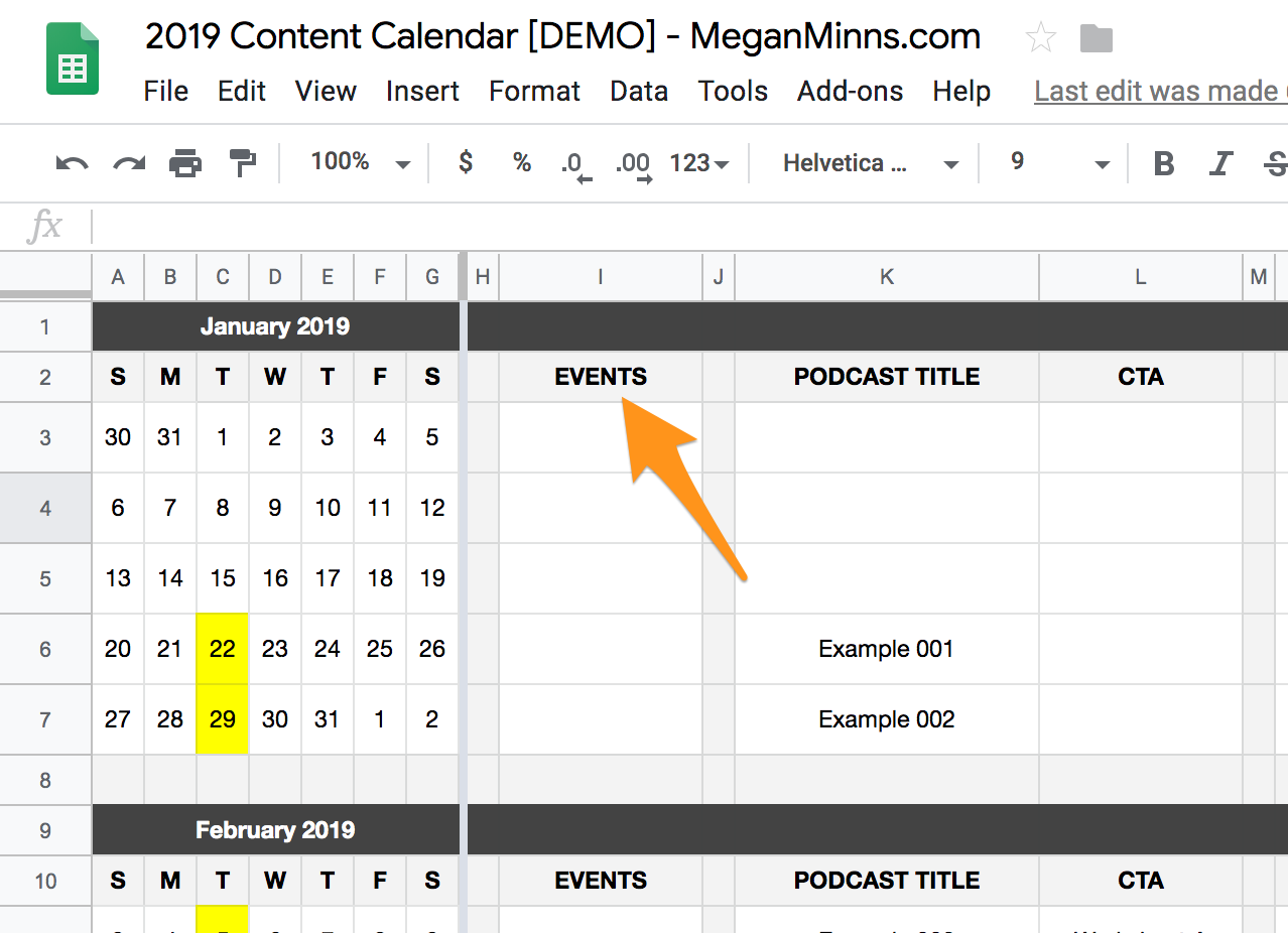 Content Calendar Template 2019.How To Create A Content Calendar Using Google Sheets Megan Minns
