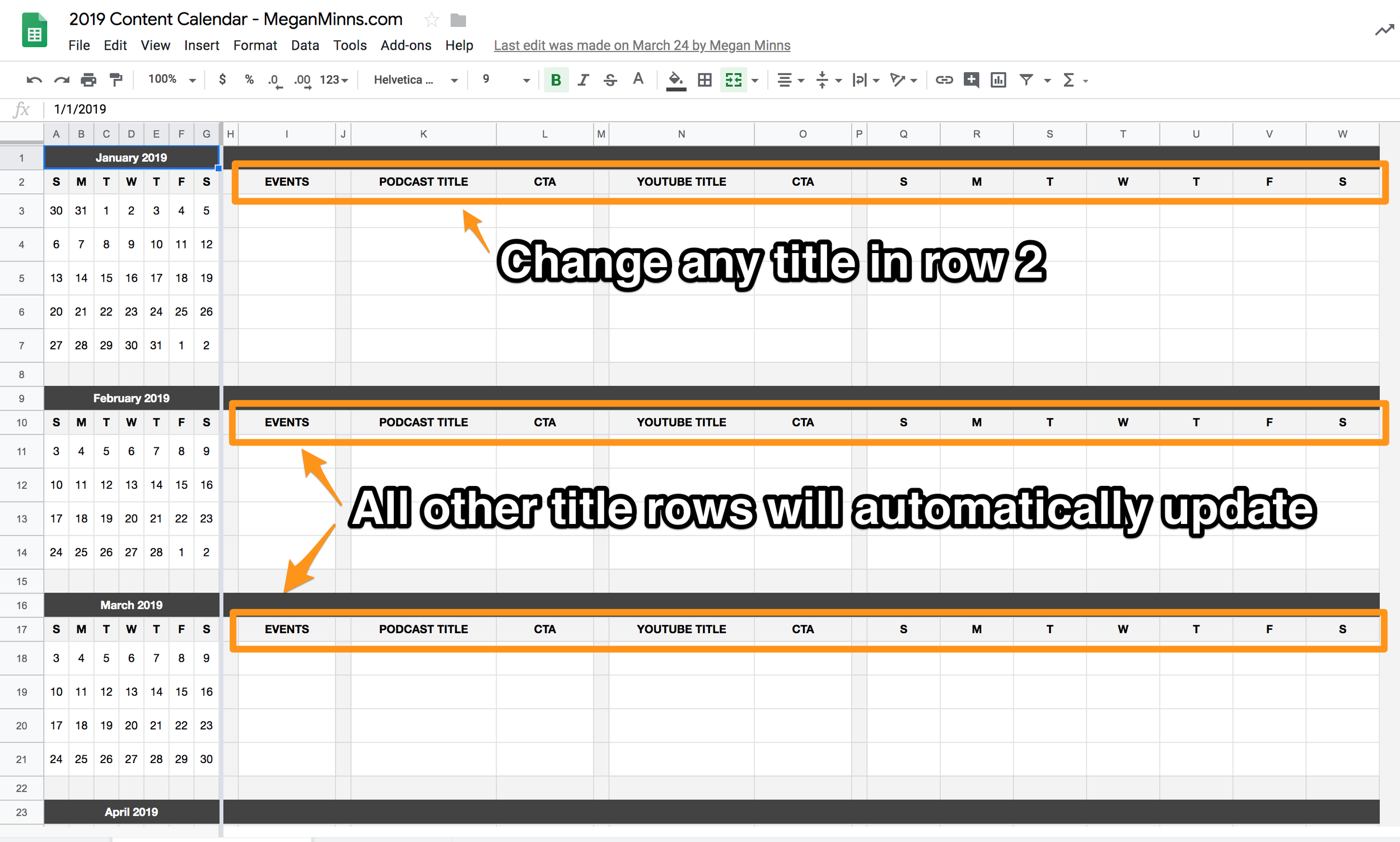 Content Calendar Template with automatically updating titles - Megan Minns