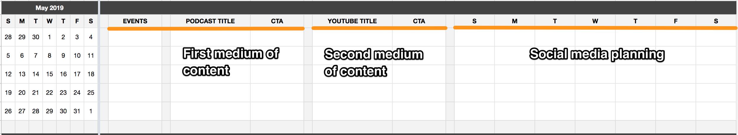 Content Calendar Template Columns - Megan Minns