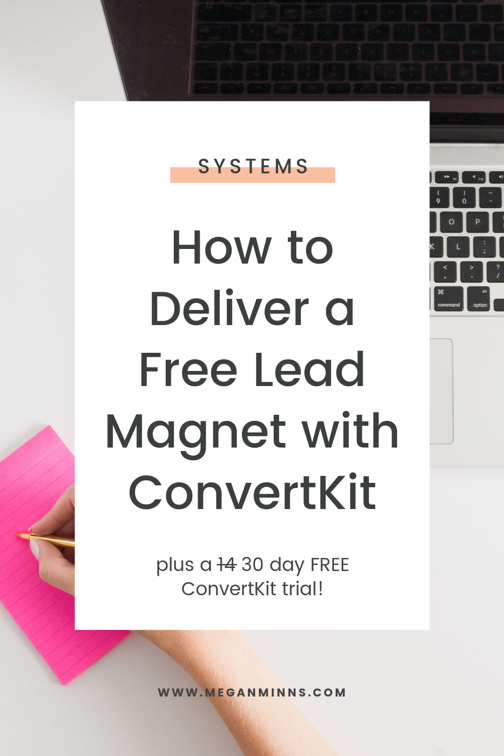 In this updated ConvertKit Tutorial 2019, you'll get a step by step on exactly how to delivery a free lead magnet with ConvertKit. It's so easy to do!  Also, if you use my link to sign up for a free ConvertKit trial, you'll get 30 days for FREE instead of the standard 14. Hurry over and get your lead magnet set up in a flash.  FULL TUTORIAL HERE:  https://meganminns.com/blog/deliver-free-lead-magnet-convertkit