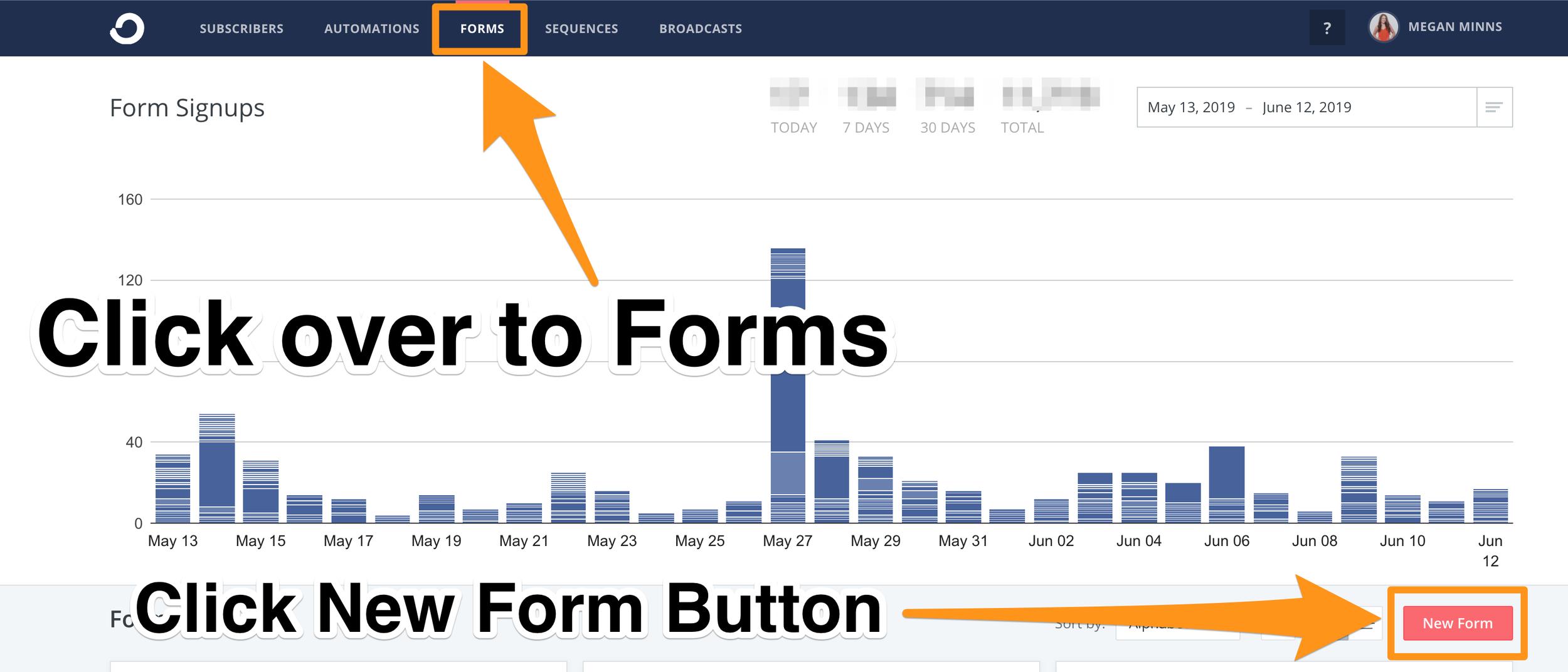 1. Click New Form button - ConvertKit Tutorial 2019 - Megan Minns.png