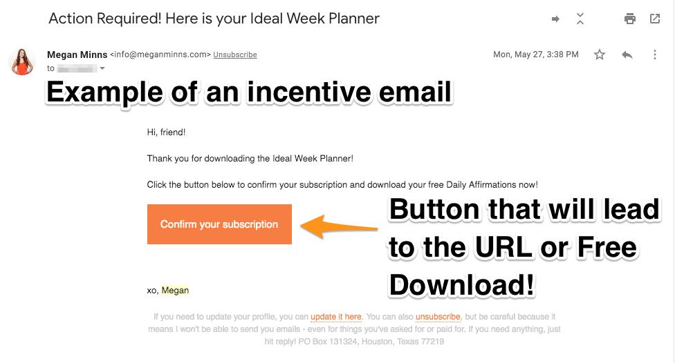 7. Incentive Email Example  - ConvertKit Tutorial 2019 - Megan Minns