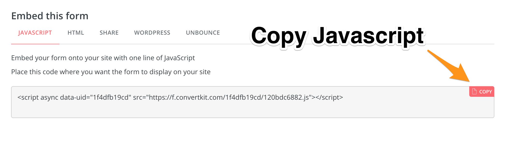 12. Copy Javascript - ConvertKit Tutorial 2019 - Megan Minns