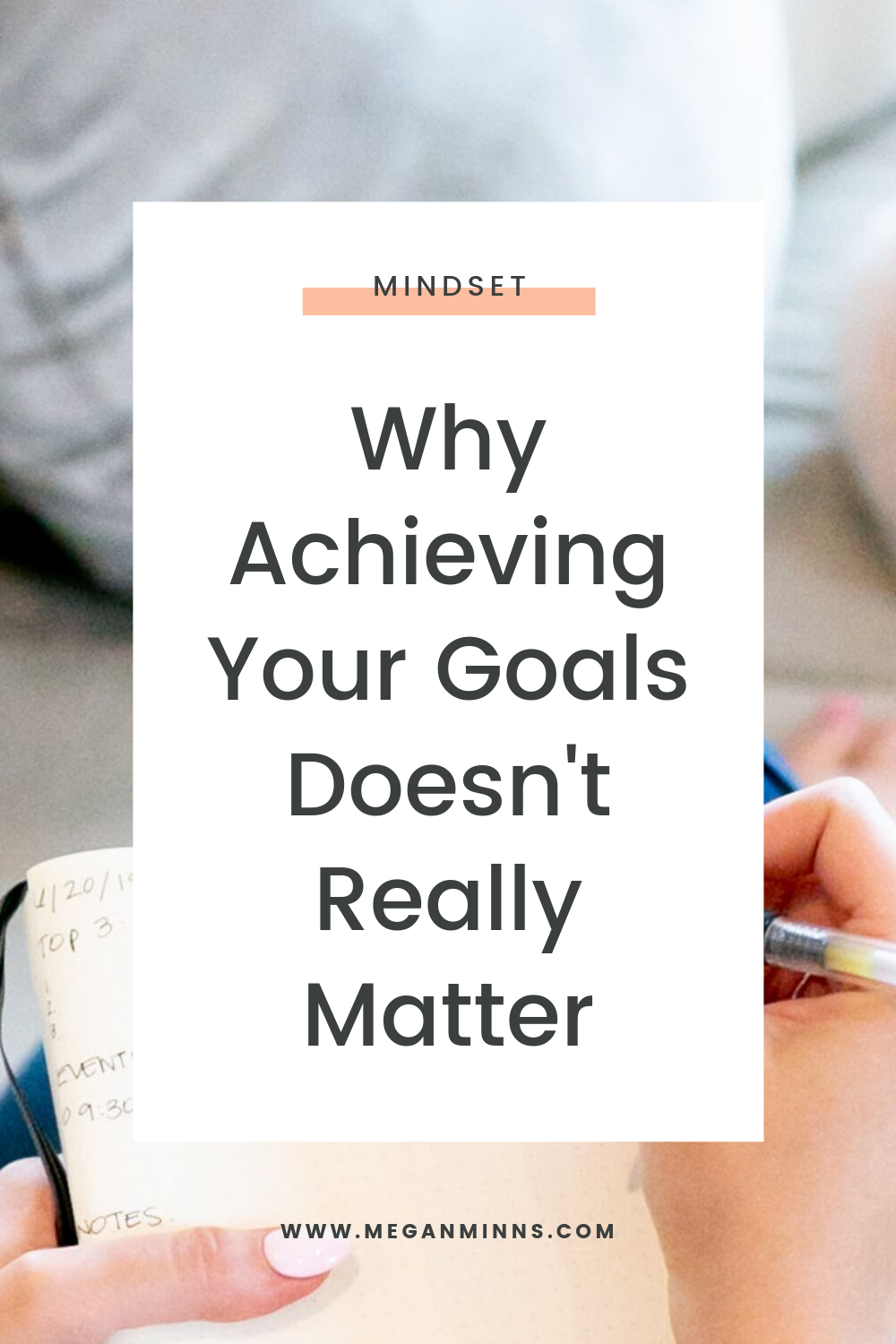 """Goal Achievement language and behavior is rampant, especially for us online business owners. We're always hearing things like """"crushing your goals"""" """"hitting your goals"""" and the like.   The reality is, achieving your goals doesn't matter --it doesn't actually reflect what's most important.   In this episode, I'll be talking about why we keep thinking that achieving our goals is the most important thing, how to reframe that narrative, and how to ultimately set yourself on a path of happiness and fulfillment.   READ THE FULL BLOG POST ➡️ https://meganminns.com/blog/achieving-your-goals-doesnt-matter"""