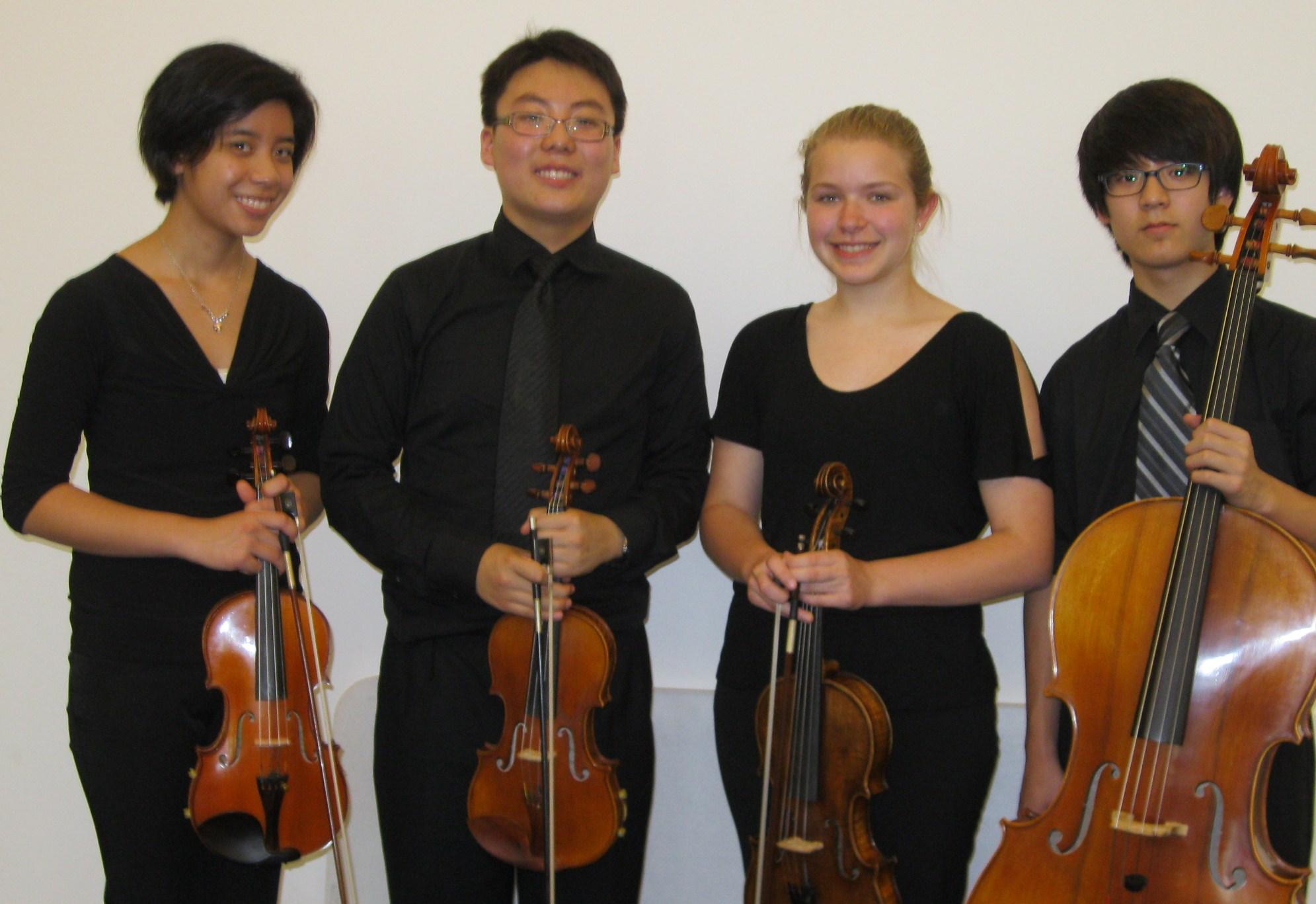 Our premier string quartet! Constance Kaita, violin I - Kangsoo Samuel Lee, violin II -Daelyn Kauffman, viola - Kangmin Joseph Lee, cello