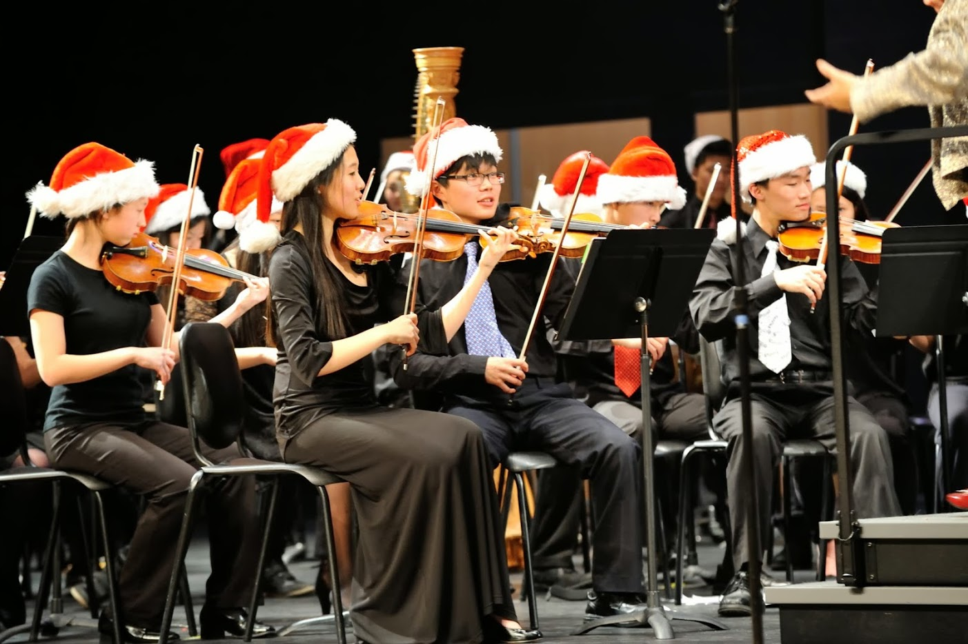 Violinists getting in the holiday spirit