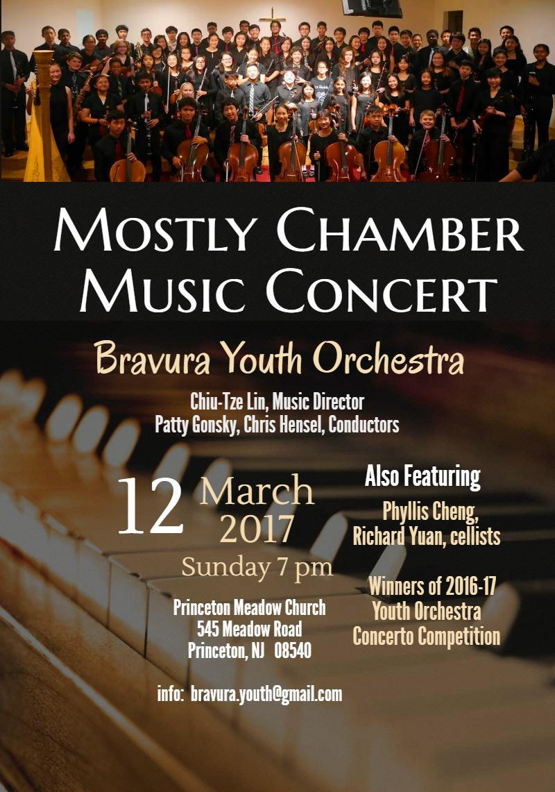 MOSTLY CHAMBER MUSIC CONCERT - MARCH 12, 2017PRINCETON MEADOW CHURCH