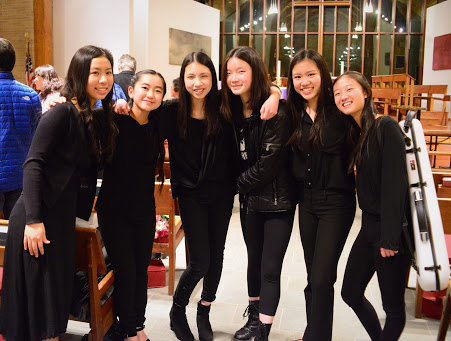 Happy string players after the concert!