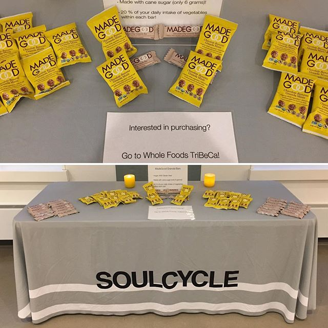 @madegoodfoods is featured at @soulcycle FiDi!! Stop by before 9pm and grab one... It's the perfect pre-workout snack! #preworkoutsnack #preworkout #glutenfree #vegan #millenialmom #nyc #fitness