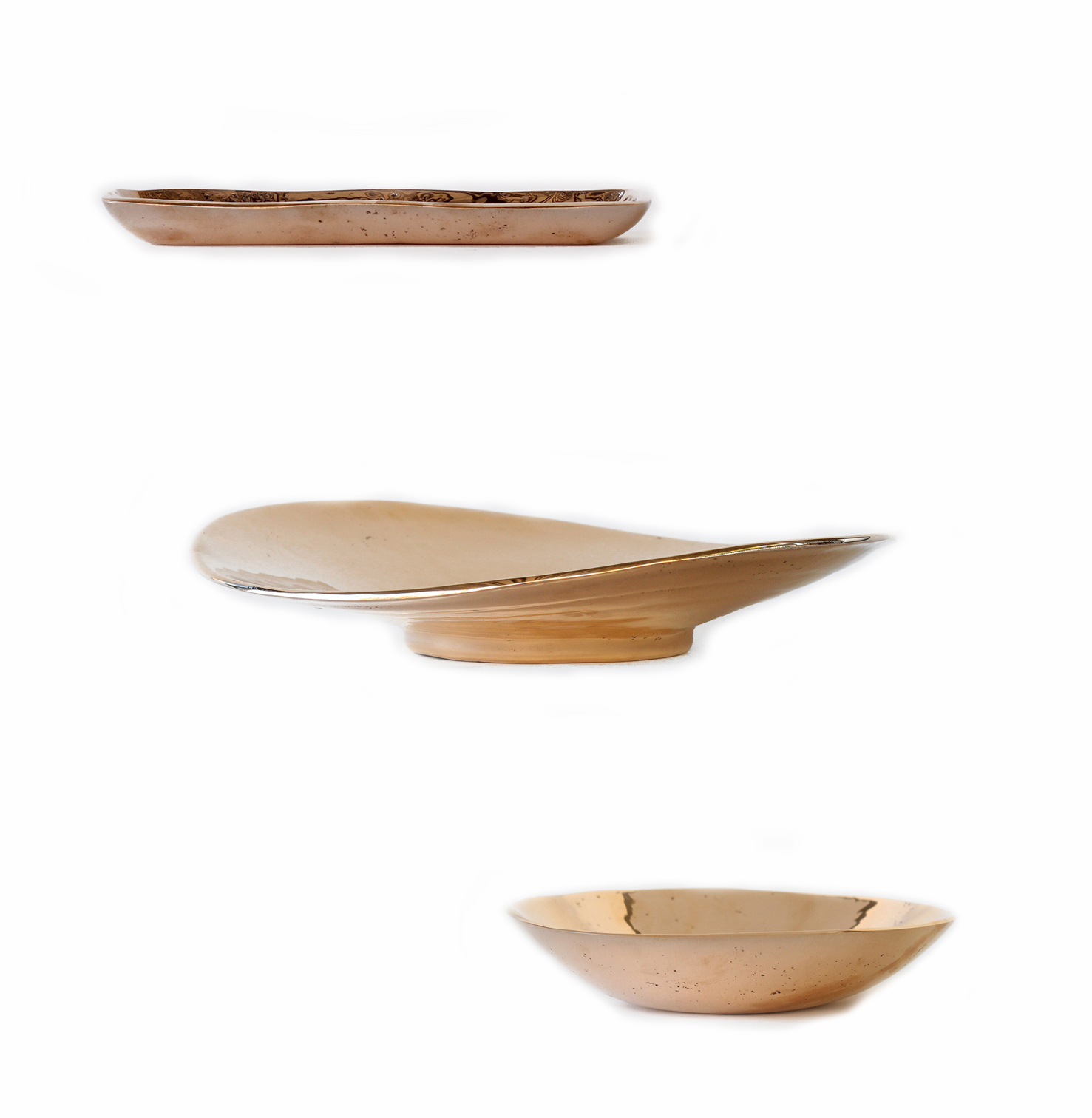 Small tray, large bronze bowl, and small bronze bowl for Commune Design.