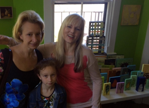 """With Nathalie and Artist Anna Koon in her one of a kind """"Bird Sanctuary"""" studio in Jamaica Plain"""